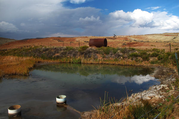 The EPA requires that the wastewater streams show no obvious sheen and no solid deposits. But both were visible near oil fields on the Wind River Reservation in Wyoming.