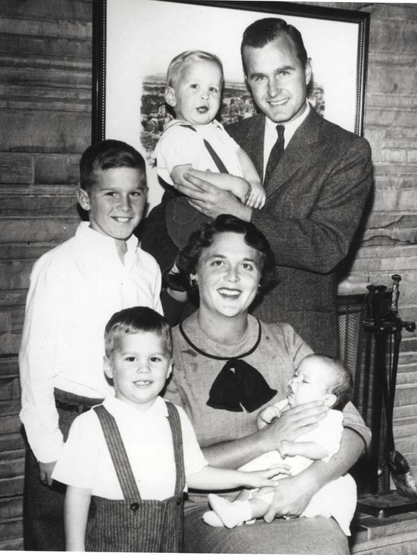 Barbara and George Bush pose with children Neil Bush, George W. Bush, Jeb Bush and Marvin Bush in 1956.