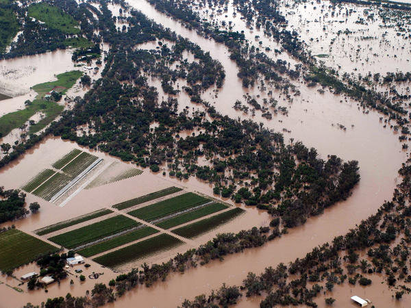 Heavy rains in Australia in 2010 and 2011 flooded farmland and homes, like these in the Queensland state town of St. George, seen here on Feb. 7. 2011.