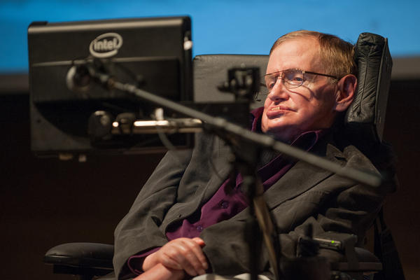 """Hawking gives a talk titled """"A Brief History of Mine"""" to workers at Cedars-Sinai Medical Center in Los Angeles on April 9, 2013."""