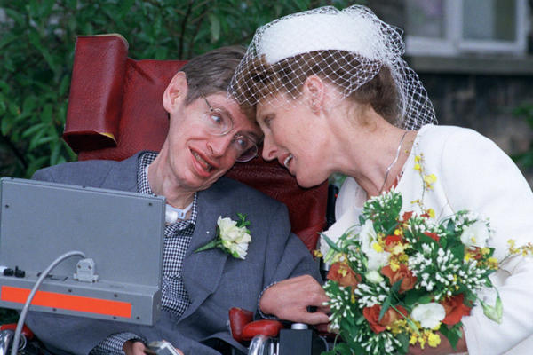 Hawking poses with his wife, Elaine Mason, after they were married at Shire Hall in Cambridge on Sept. 15, 1995. Hawking, then 53, had a crippling motor neuron disease. Mason was his former nurse, and her ex-husband, David, was the computer engineer who adapted the scientist's voice synthesizer so it would fit onto his wheelchair.