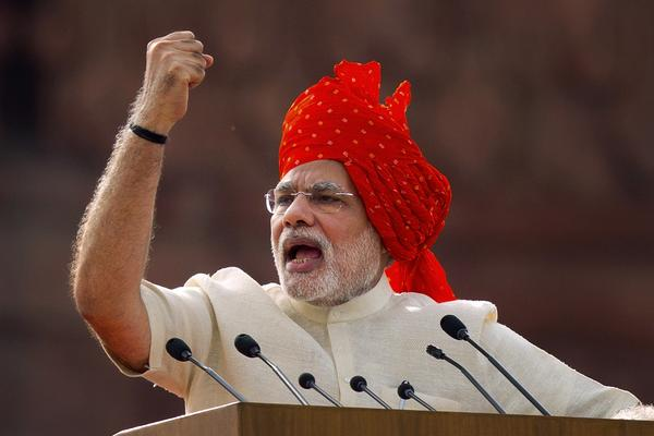 Prime Minister Narendra Modi speaking at Delhi's Red Fort on India's Independence Day, Aug. 15, where he said that religious and caste strife was blocking India'€™s progress. However, newly empowered Hindu nationalists are asserting their ideology and agenda.