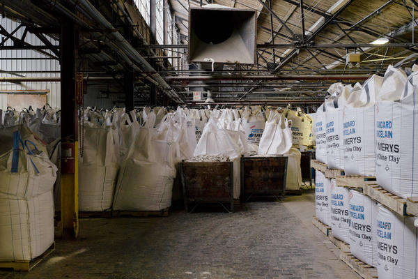 Bags of clay sit in storage. Though pottery has been made in the region for hundreds of years, local clay is too coarse to make products like Fiesta. The Ohio River proved instrumental in importing clay from places like Georgia after the Civil War.