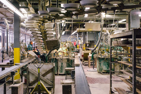 "The ""big, flat automatic jigger"" can produce up to 36,000 items during an eight-hour shift. Its designer worked so hard on it that he often slept at the factory — but died of a heart attack supervising the machine's construction."