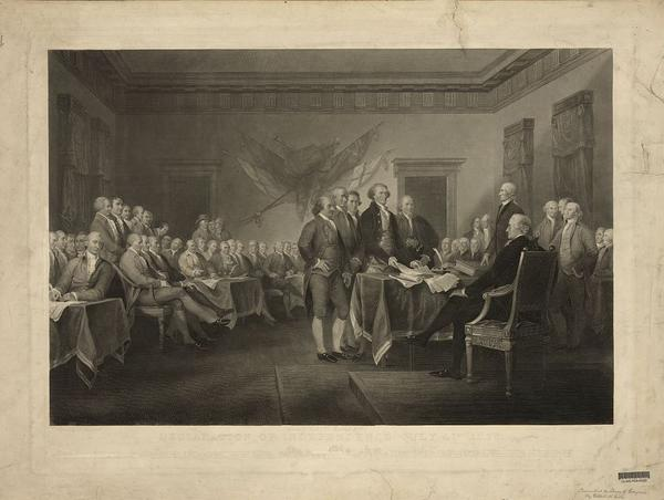 Artist John Trumbull's <em>Declaration of Independence</em>. It can be seen in the rotunda of the U.S. Capitol.