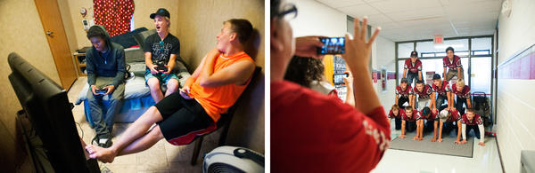 The small team is tight-knit, spending time together both on the field and off. At left, teammates Jayy Morgan, Nick Armour and Jonathon Jacoby play video games at Jacoby's home at Dakotaland Lodging, a trailer court mostly populated by workers and families lured to the Bakken by the area's healthy economy. At right, the team forms a human pyramid in the school's hallway between classes.