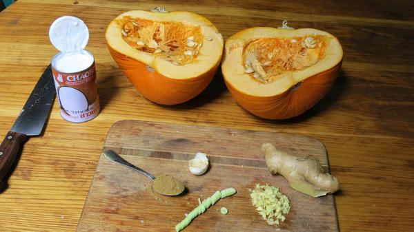 Prepping a Howden pumpkin – the most common variety for decorative uses — for soup.