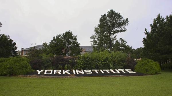 Outside the York Institute, a 600-student school in Jamestown, Tenn.