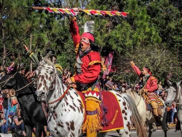 Osceola and the Seminole Riders came for the first time from Big Cypress Reservation to lead the FSU Homecoming parade on November 13 in Tallahassee, Fla.