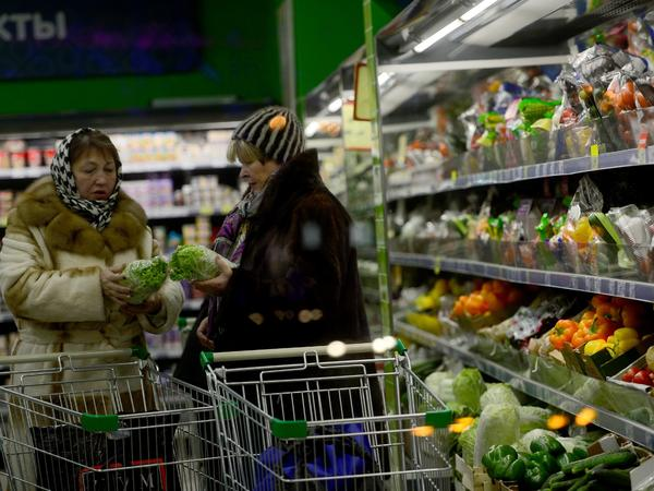 About 40 percent of Russia's food is imported. As the value of the ruble has declined, prices at grocery stores have risen.