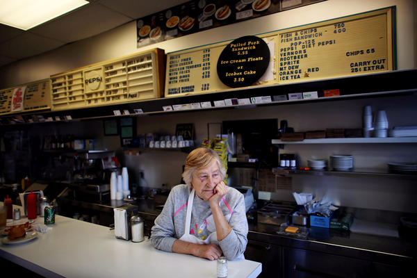 Jean Harlan, Rich's mother, also works in the restaurant. Rich's great-aunt and -uncle came from Greece and started the restaurant in Detroit in 1921.
