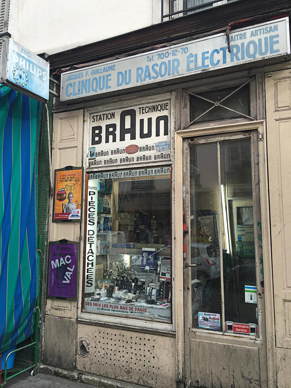 Guillaume set up his Electric Razor Clinic in Paris' popular Bastille neighborhood 50 years ago. It's valuable real estate now but he has no intention of selling his shop.