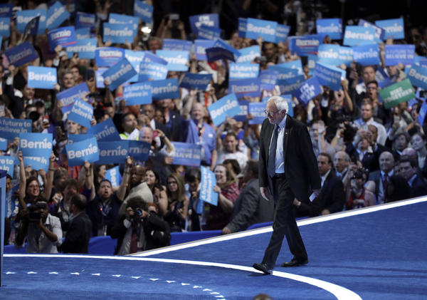 Former Democratic Presidential candidate, Sen. Bernie Sanders, I-Vt., takes the stage during the first day of the Democratic National Convention in Philadelphia , Monday, July 25, 2016.