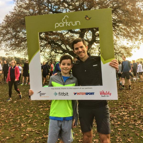 Owen Delaney with his son Tom, during a run in London's Bushy Park.