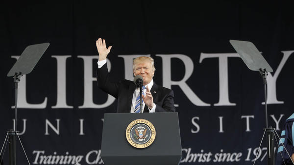 President Donald Trump gives the commencement address for the Class of 2017 at Liberty University in Lynchburg, Va., Saturday.