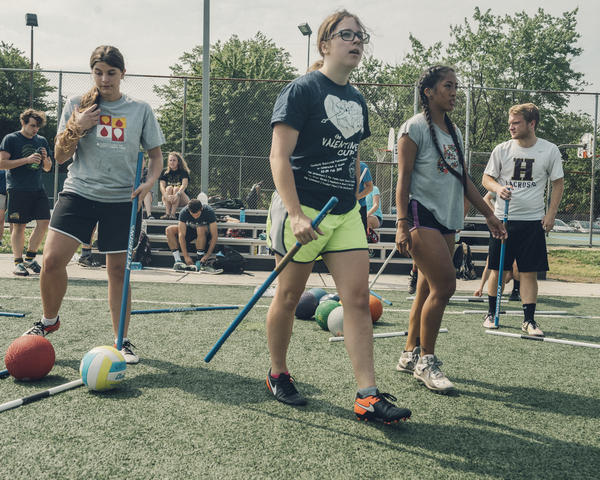 Quidditch isn't divided by sex, and anyone, regardless of their gender identity, is welcome to play. The main rule regarding gender allows a maximum of four people from each team who identify the same way to play at a time.