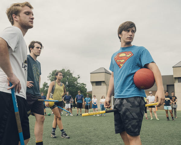 """Colby Palmer (right) started playing quidditch in college. """"My impressions of quidditch was just that it's for nerds by nerds — that they wouldn't be like people who I would find things in common with,"""" Palmer says. Now he's heading into his senior year at Virginia Commonwealth University and is spending the summer playing for the Washington Admirals."""