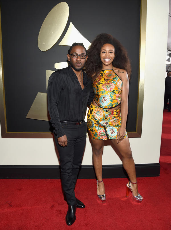 SZA and Kendrick Lamar attend the 58th GRAMMY Awards at Staples Center on February 15, 2016 in Los Angeles.