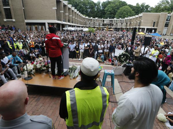 A speaker addresses the crowd Wednesday at a vigil for 17-year-old Nabra Hassanen, who was killed Sunday in Northern Virginia as she returned to a mosque with a group of friends.