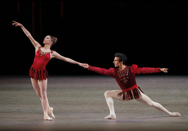 "New York City Ballet principal dancers Megan Fairchild and Joaquin De Luz perform ""Rubies.""<em> (</em><em>Jewels, choreography by George Balanchine, © The George Balanchine Trust)</em>"