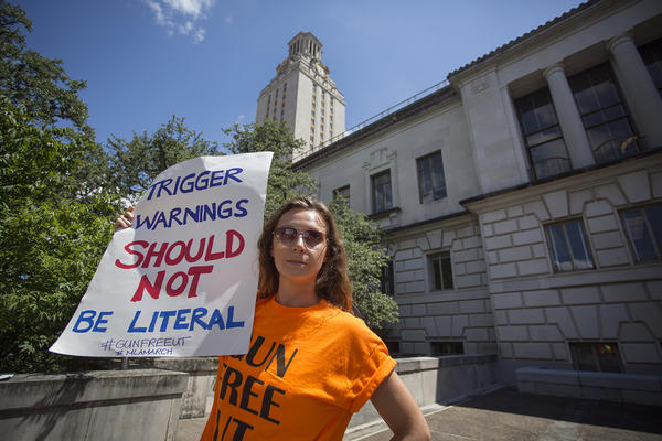 """On the first day of class after the """"campus carry"""" law took effect, protesters marched on the University of Texas-Austin campus."""