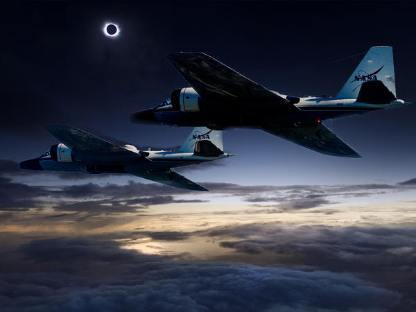 A NASA illustration showing twin WB-57F research planes tracking the eclipse over North America.
