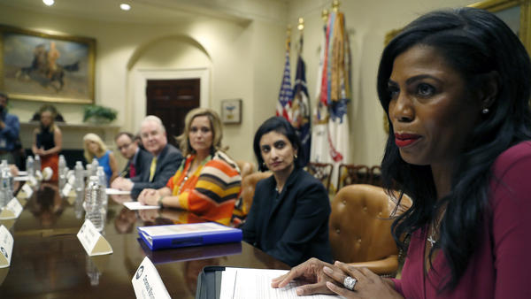 White House aide Omarosa Manigault speaks to a health care panel in June. On Friday, she was part of a panel at a black journalists conference that ended with the audience protesting her participation.