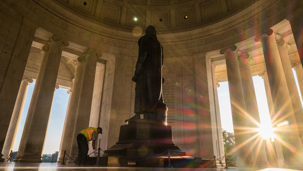 President Trump rhetorically questioned whether statues of Thomas Jefferson, one of which stands in the Jefferson Memorial in Washington, D.C., and George Washington should come down because they were slave-owners.