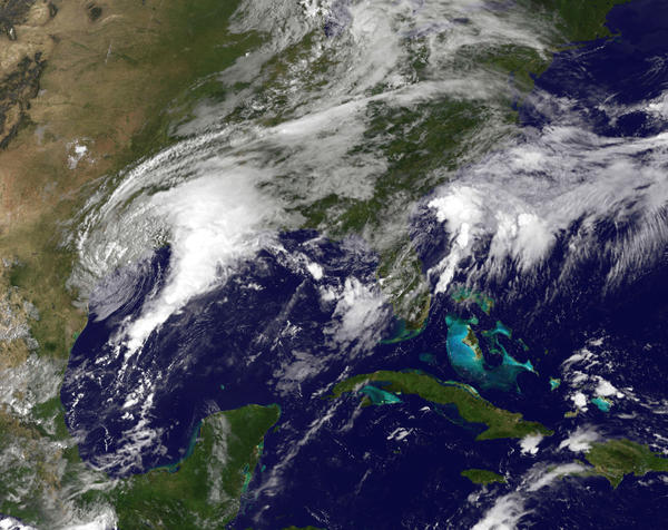 NOAA's GOES East satellite capture of Tropical Storm Harvey as it churns on Monday.