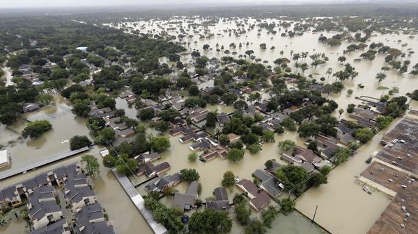 This view of Tropical Storm Harvey flooding in Houston on Tuesday shows why even the storm-hardy Waffle House had to close two of its restaurants in the city.