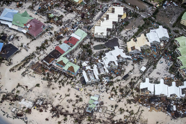 An aerial photography taken by the Dutch Ministry of Defense on Wednesday shows damage from Irma on the island of Sint Maarten.
