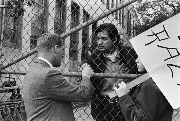 Students argue with school administrator during the Walkouts. Circa 1968.