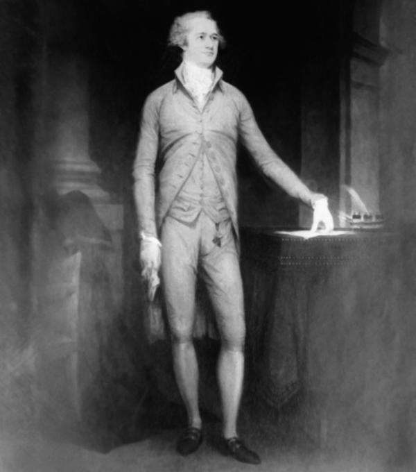 Alexander Hamilton, first secretary of the treasury, from a portrait painted by John Trumbull in 1792.