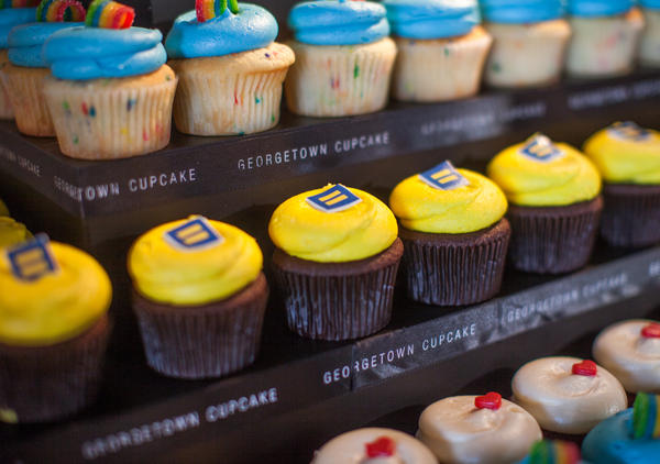 """""""Equality cupcakes"""" by Georgetown Cupcakes are just one of several baked creations in support of same-sex marriage that were on display this week at the Chefs for Equality, a fundraising event for the Human Rights Campaign in Washington, D.C."""