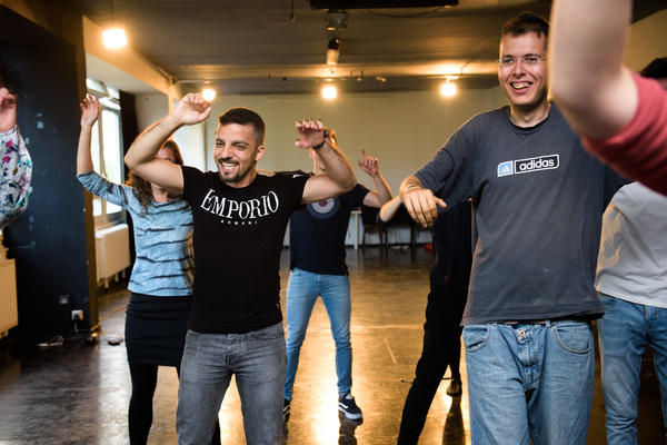 Abulhusn performs at a class at Improv Without Borders, a program he attends every week to gain self-confidence.