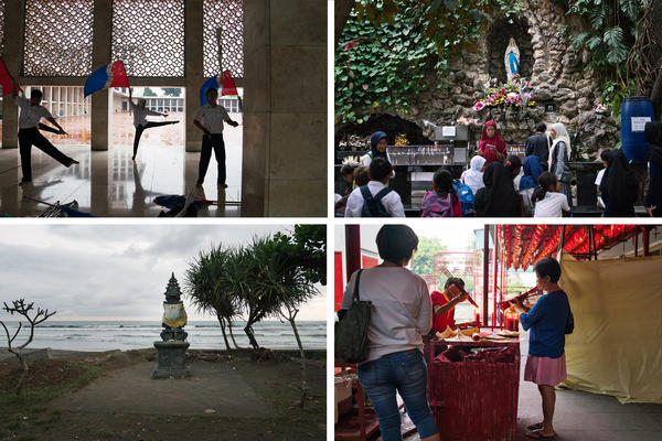 Top left: Band members practice twirling flags at Istiqlal mosque. Top right: People visit St. Mary of the Assumption Cathedral across the street from the mosque. Bottom right: People light incense at the 17th century Vihara Dharma Bhakti Buddhist temple in a mostly Chinese neighborhood in Jakarta. Bottom left: A Hindu shrine on a Bali beach.
