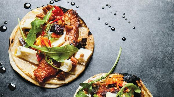 Roasted pumpkin tacos from chef Wes Avila's cookbook, <em>Guerrilla Tacos</em>.