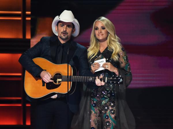 Country music stars Brad Paisley and Carrie Underwood co-hosted the 51st annual CMA Awards.
