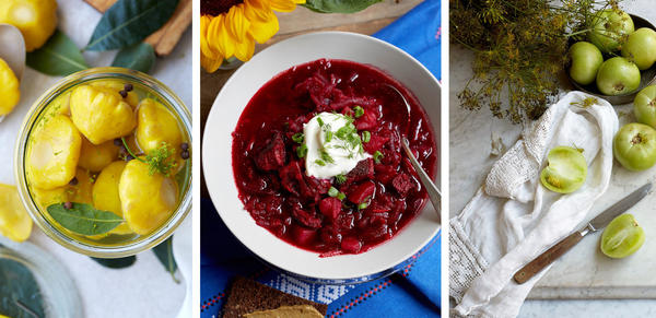From left: pickled pattypan squash, short-rib borscht and pickled green tomatoes are among the recipes featured in <em>Kachka: A Return To Russian Cooking.</em>