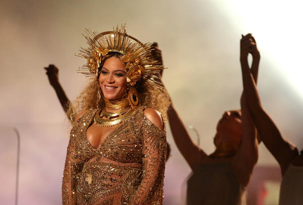 """Beyoncé performs at the Grammy Awards in Los Angeles on Feb. 12. """"Instead of me telling someone how good I look, I can just send them a picture of Beyoncé in a queen's outfit,"""" Youth Radio's Robert Fisher says."""