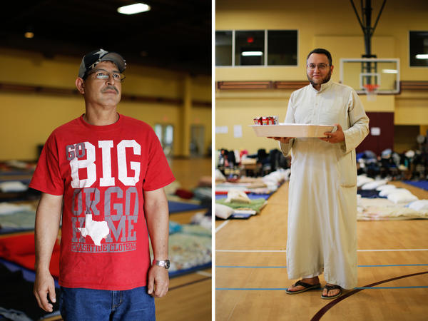"""(Left) Jaime Botello is at the mosque with his wife and grandson. """"I've never been to a mosque before but what is the difference? The doors are open so I came,"""" Botello says. """"We are all together."""" (Right) Adbelhamid Moursy is a telecom engineer and education director at the mosque. """"We will take any family ... any person,"""" Moursy says."""
