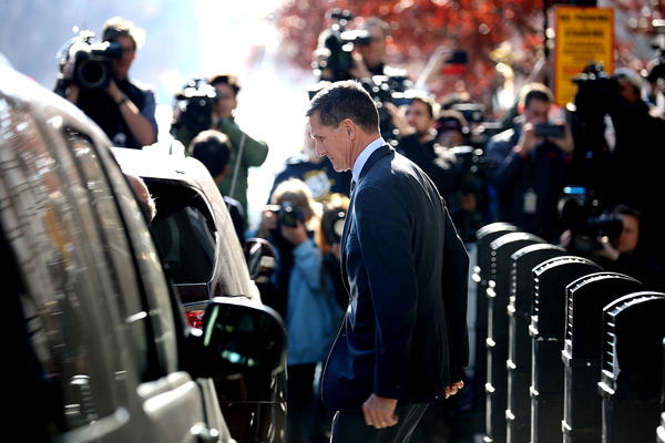 Michael Flynn, former national security adviser to President Donald Trump, leaves the federal courthouse in Washington, D.C., on Dec. 1 after pleading guilty to lying to the FBI.
