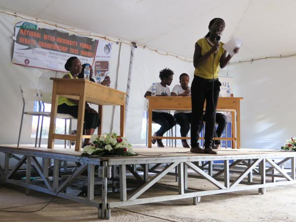 Martine Dushime, a member of  the debate team from the Kigali Institute of Science and Technology, drives home a point.