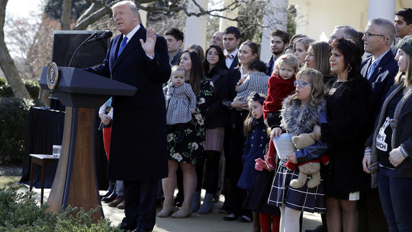 President Trump speaks to the March for Life participants via satellite from the Rose Garden of the White House on Friday.