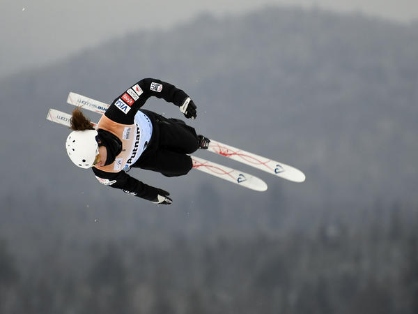 "Caldwell competes in the women's World Cup freestyle skiing aerials in Lake Placid, N.Y., on Jan. 19. ""I always wanted to be like the boys for a long time,"" she says, ""and now I like it when my coaches treat me like <em>me</em>."""