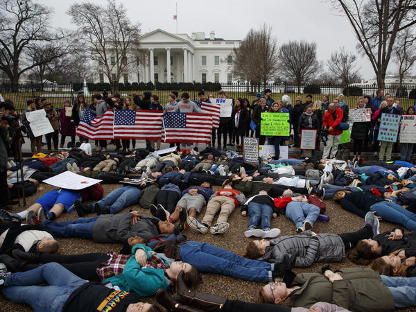 "Demonstrators participate in a ""lie-in"" during a protest in favor of gun control reform in front of the White House. Grassroots groups are planning hundreds more protests in coming weeks."