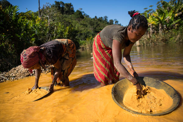 Rice farmers in Madagascar pan for gold to supplement their income.