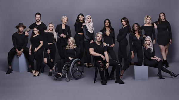 Amena Khan, center in hijab, with other L'Oreal ambassadors at a photo shoot in February 2017 in London.