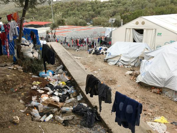 A section of the crowded and trash-strewn Moria refugee camp on the island of Lesbos, Greece.