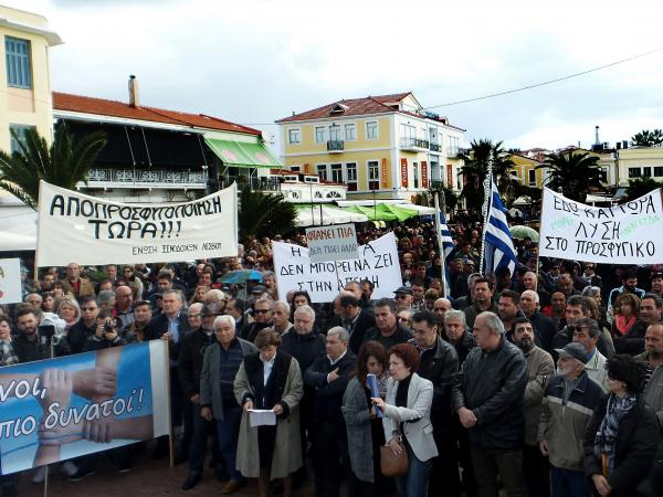 Residents of Lesbos demonstrate on Nov. 20, 2017, against an increase in the number of asylum-seekers on the island.